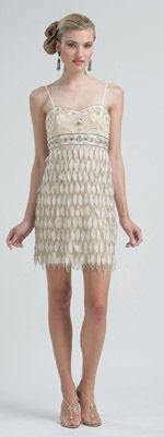 Vintage 1920's dresses! Sue Wong Summer 2012- Champange Embroidered Petal Layered Chiffon Empire Waist $179