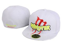 Monster Energy Fitted Hats All White 012