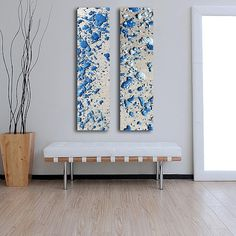 Items similar to Large Abstract Paintings / 2 set painting 36 x 12 / Melted Metal Wall Art / Lava lamp / silver, metal, Blue, white on Etsy Wood Canvas, Canvas Wall Art, Metal Wall Art, Wood Art, Colored Bubbles, Abstract Art, Abstract Paintings, Painting Process, Decoration