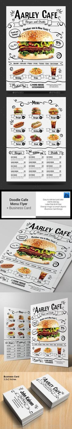 Doodle Cafe Menu + Business Card - Food Menus Print Templates