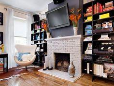 tele cheminee brique blanc peu vache studio etagere chaise design