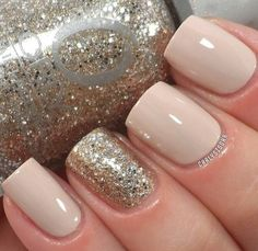 Love! glitter and beige nails