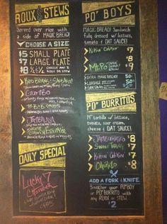 Blackboard Menu, Cajun Creole in Columbus, OH