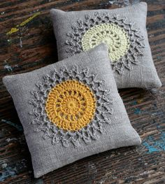 Lavender sachets crochet motif set of 2 by namolio on Etsy Crochet Cushion Cover, Crochet Cushions, Crochet Pillow, Crochet Leaves, Crochet Doilies, Crochet Flowers, Crochet Edgings, Crochet Motif Patterns, Granny Square Crochet Pattern