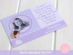 Tarjeta de invitación comunión con foto