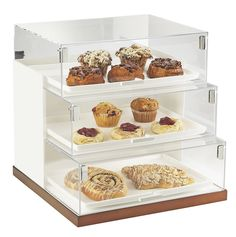 Luxe Three Step Bread Case Display Item: 3020-51 and 3020-55. The offset tier of the Luxe Three Step Bread Case Display makes sure it is simple to see products that could otherwise be hidden in the deep, dark, back of the case. The sturdy acrylic ensures that food will stay where it is meant to be, inside the case! http://www.calmil.com/index.php?page=shop.product_details&flypage=flypage.tpl&category_id=48&product_id=1722&option=com_virtuemart&Itemid=3