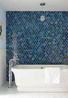 Green and Blue Moroccan Tiles in Ann Sacks Chrysalis Marrakech Mosaics