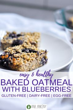A soft and chewy breakfast bar, Baked Blueberry Oatmeal Bars are a great healthy baked addition to your early morning. Gluten-free, dairy-free, vegan and high in protein! Dairy Free Breakfasts, Gluten Free Recipes For Breakfast, Dairy Free Recipes, Whole Food Recipes, Dessert Recipes, Healthy Recipes, Healthy Desserts, Brunch Recipes, Easy Recipes