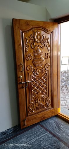 Ideas for wooden glass door design window Single Door Design, Home Door Design, Pooja Room Door Design, Door Design Interior, House Main Door Design, Wooden Glass Door, Wooden Front Door Design, Wooden Front Doors, Wooden Door Hangers
