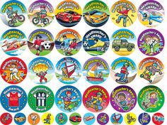 A fun and colourful mix of Headteacher's Awards especially designed for boys.      36 designs     Size: 36mm - 480 stickers     Size: 15mm - 240 stickers     720 stickers per pack     Ref: MW50  Price     £19.95 FREE UK DELIVERY     (£16.63 ex VAT)