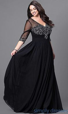 Formal plus-size floor-length evening dress with embellished v-neck, bodice and three-quarter length sleeves by Simply Dresses.