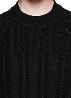 3.1 PHILLIP LIM - Tonal contrast knit sweater | Black Long Sleeve Knitwear | Womenswear | Lane Crawford - Shop Designer Brands Online