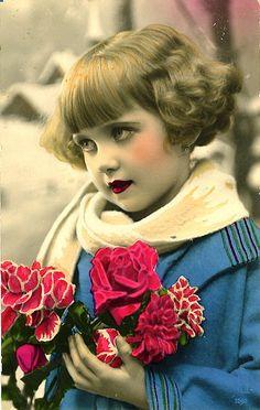 Vintage Postcard ~ Little Deco Girl@@@@.....@@@@@.....http://www.pinterest.com/pin/396879785884107906/