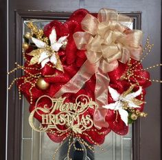 Red with Gold Christmas Deco Mesh