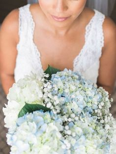 Hydrangea Bouquet Wedding, Blue Wedding Flowers, White Wedding Bouquets, Lace Wedding, Wedding Dresses, Blue And White, Baby's Breath, Fashion, Bride Gowns