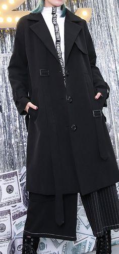 ec6f44a08a0 2018 black Winter coat plus size Notched Winter coat boutique pockets baggy  coat