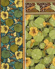 Large selection of 17 nasturtium varieties. Easy-to-grow plants perfect for edging paths, planting in beds or or containers. Long-spurred blossoms attract hummingbirds, young nasturtium leaves add delicious peppery flavor to salads. Art Nouveau Illustration, Botanical Illustration, Art Nouveau Tiles, Arts And Crafts Movement, Art Deco Design, Botanical Prints, Design Crafts, Pottery Art, New Art