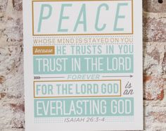 Vintage Typography Scripture Poster Print - Isaiah 26:3-4 Bible (You Keep Him in Perfect Peace)