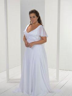Luxurious Empire V-neck Short-Sleeve Floor-length Sweep Plus Size Wedding Dresses