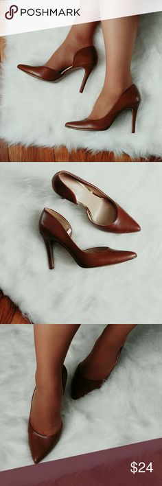 Cognac Pointed  Heels Like new condition...worn carefully  Size 11  Leather Merona Shoes Heels