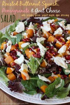 Roasted Butternut Squash, Pomegranate & Goat Cheese Salad (with Creamy Greek Yogurt Maple Dijon Dressing) | cupcakesandkalechips.com | #glutenfree #vegetarian
