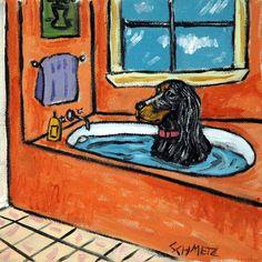 GORDON SETTER taking a bath DOG ART TILE COASTER