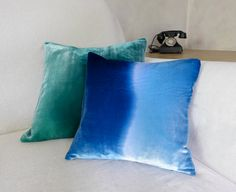 Deep blue 'wave' pillow 12 30cm square hand-painted by Colorbloom