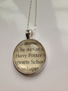 Harry Potter Book Page Necklace by EnchantingGlass on Etsy