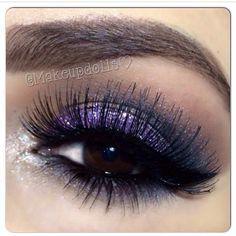 elegant evening makeup inspiration for brown eyes: dark violet and black