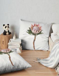 'Protea Sugarbush Flower' Floor Pillow by houseofenigma Duvet, Bedding, Floor Pillows, Throw Pillows, Flooring, Blanket, Flowers, Home, Decor
