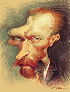 I understood him. I'm getting a quote of his tattooed for my birthday. Funny Caricatures, Celebrity Caricatures, Celebrity Drawings, Caricature Artist, Caricature Drawing, Drawing Art, Cartoon Faces, Funny Faces, Vincent Van Gogh