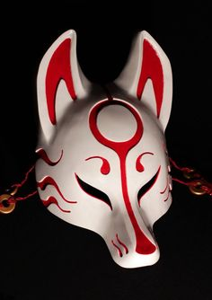 Mask in the form of a Japanese fox Kitsune. Japanese Fox Mask, Japanese Animals, Amaterasu, Anime Mascaras, Kitsune Maske, Anime Kitsune, Mask Drawing, Cat Mask, Animal Masks