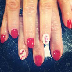 Nail shellac gelish gel nails nail art cute red white baseball stl St. Louis cardinals