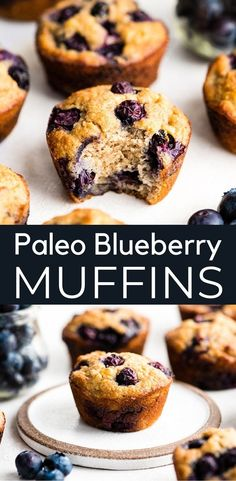 This Easy Paleo Blueberry Muffins Recipe tastes just like bakery muffins but they're good for you! These gluten-free blueberry muffins have the perfect crumb and just the right amount of sweetness! They're dairy-free, refined sugar free and freezer-f Sugar Free Blueberry Muffins, Banana Blueberry Muffins, Blue Berry Muffins, Blueberry Recipes, Paleo Dessert, Dessert Recipes, Recipes Dinner, Desserts, Sin Gluten