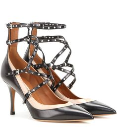 Love Latch black and nude leather sandals Black Leather Sandals, Black Sandals, Leather Shoes, Shoes Sandals, Rockstud Shoes, Women Wear, Heels, Design, Footwear