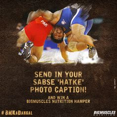 Are you witty enough to come up with a #quirky caption for this #wrestling move? #BMKaDangal #BigMusclesNutrition #ContestAlert