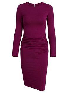 Missufe Women's Short Sleeve Ruched Casual Sundress Midi Bodycon T Shirt Dress Midi Sundress, Sheath Dress, Amazon, Formal Dresses, Store, Sleeve, Casual, Clothing, Green