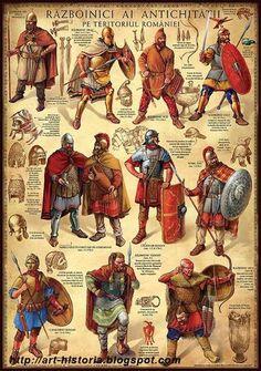 1. Guerrero de la edad de bronce. 2. Tracio.  3. Escita. 4. Celta (siglo IV a.c.) 5 y 6. Nobles getas en traje ceremonial (siglo IV a.C.). 7. Legionario romano (siglos I-II d.C.). 8. Noble dacio (siglo I a.C.) 9. Jinete romano (siglos II-III d.C.). 10. Visigodo. 11. Huno. Cortesía de Radu Oltean. Más en www.elgrancapitan.org/foro