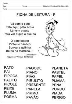 Ficha de Leitura Letra P - Pato Portuguese Lessons, Myla, Professor, Homeschool, Education, Memes, Reading Lessons, Teaching Reading, Reading Activities