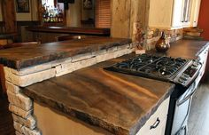 Rustic Countertop, Color Striations, Rough Edge Concrete Countertops SunWorks, etc. LLC Annville, PA (for our kitchen countertops). Cement Countertops, Outdoor Kitchen Countertops, Kitchen Countertop Materials, Concrete Kitchen, Live Edge Countertop, Kitchen Laminate, Stain Concrete, Slate Backsplash, Countertop Decor