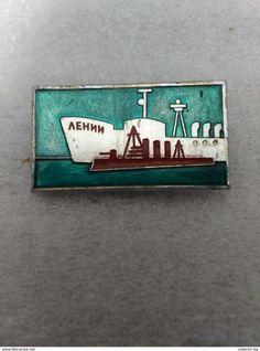 "RARE SHIP BOAT LENIN RUSSIA USSR  70""S LOGO  VINTAGE  BADGE PIN - Celebrities"