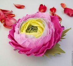 """Купить """"Ранункулюс"""" Цветы из фоамирана.Украшения.Заколка. - розовый, нежно-розовый, украшение в прическу"""