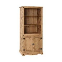 CORONA Waxed Pine Mexican Style Bookcase 2 Door Study Living Room Furniture for sale online Tall Narrow Bookcase, Pine Bookcase, Etagere Bookcase, Living Room Furniture Uk, Pine Bedroom Furniture, Home Office Furniture, Solid Oak Furniture, Door Displays, Hazelwood Home