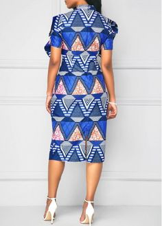 Printed Bowknot Front Back Slit Sheath Dress on sale only US$33.00 now, buy cheap Printed Bowknot Front Back Slit Sheath Dress at liligal.com