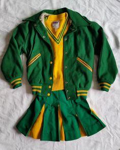 Vintage 70's Cheerleader Uniform Letter Varsity Jacket 3 Piece Set Costume | eBay