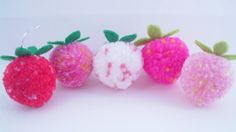 Strawberry Shortcake Yarn Pom Pom Earrings Kitsch by FrillyPops