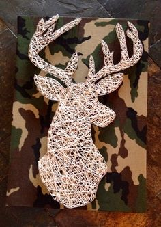 String Art Deer on Camo by NailedItDesign on Etsy, $44.00
