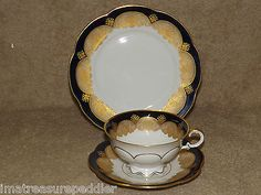 Hutschenreuther Honenberg Germany Trio Cup Saucer Plate Gold Lace Cobalt Blue