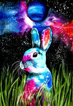 Original watercolor painting Rabbit from Neptune by CravinaStudio on Etsy