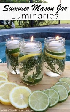 Summer Mason Jar Luminaries - These are not only easy and beautiful they are also a chemical free DIY Bug Repellent! Pot Mason Diy, Mason Jar Crafts, Mason Jars, Jelly Jar Crafts, Jelly Jars, Pot Pourri, Brit, Citronella Candles, Tea Candles